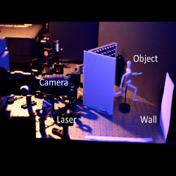 Velten's experiment at the MIT Media Lab. Laser light is scanned across a wall, and the multi-bounce light is captured by a high-speed streak camera.