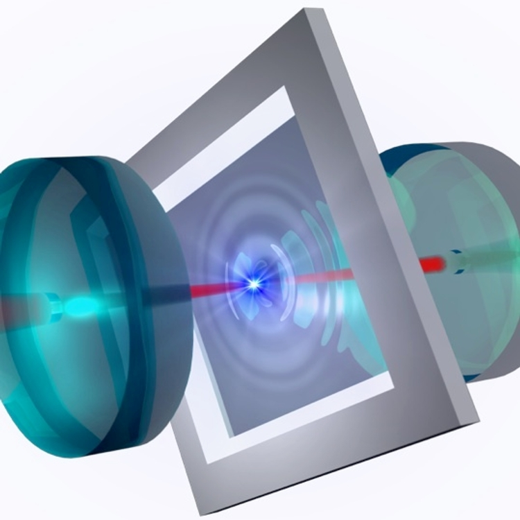 Membrane in a cavity. The picture shows how a laser beam excites a membrane between the two mirrors of an optical cavity. If two membranes were placed in such a cavity, the laser could  be used to entangle them.