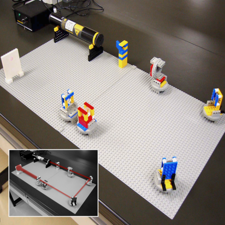 A LEGO optical setup. Beam-expander system — He-Ne laser, beam stopper, polarizer, 2 mirrors, concave lens, convex lens, screen — built using standard LEGO components. The mount system is more compact than older ones and all optical parts are on rotating stages in order to make the adjustment of the optical axis easier. This is a well-known Galileo type beam expander (4X magnification). Inset: path of the beam.
