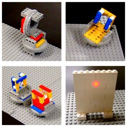 LEGO optical elements. Clockwise: a polarizer; a mirror; a telescope; and a screen. All parts are built using standard LEGO components.