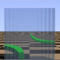A view through a METATOY. A sheet covered with tiny Dove prisms acts almost like a homogeneous surface and mimicks negative refraction in metamaterials. Here, a straight line perpendicular to the sheet appears bent into a hyperbola.