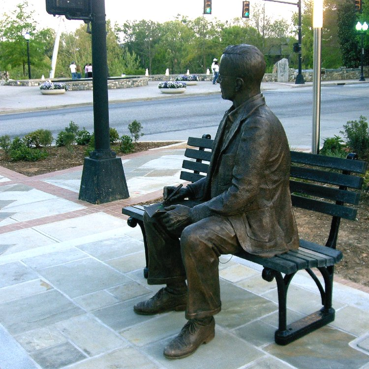 Charles H. Townes' statue. As Charles H. Townes recalls [3], he was sitting on a park bench in Franklin Park, Washington DC, USA, when he got the inspiration for the amplification by stimulated emission of radiation.